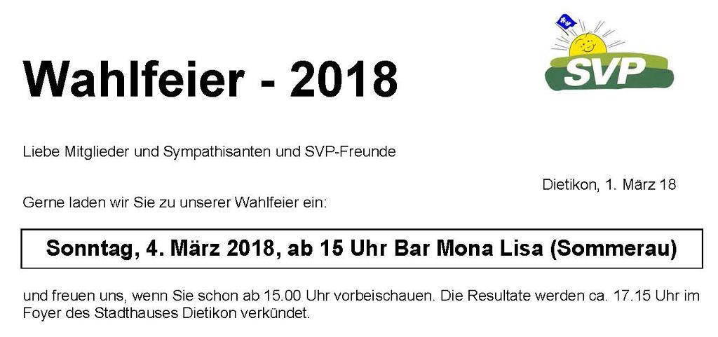 Wahlfeier - SVP Dietikon bi de Lüt